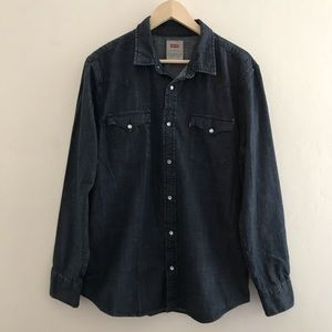 Levis Barstow Western Denim Shirt Blue Large